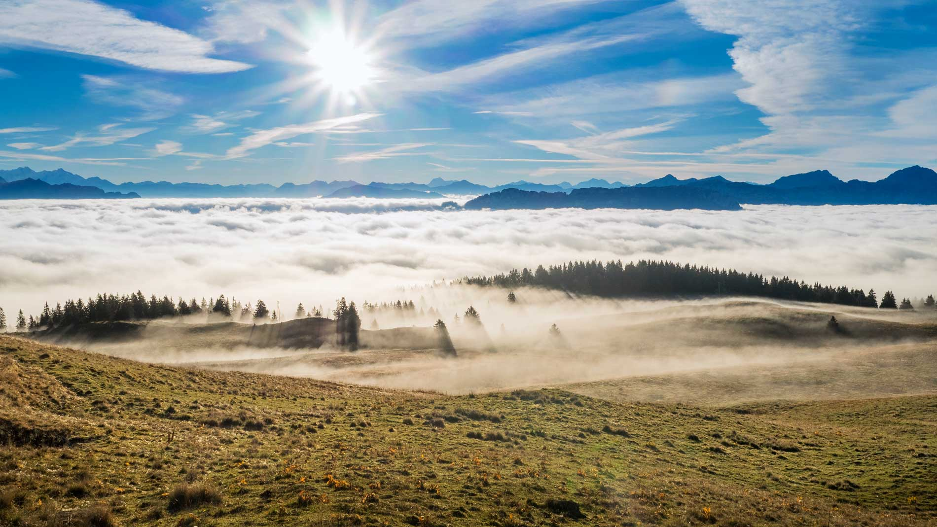 Mer de nuages en montagne